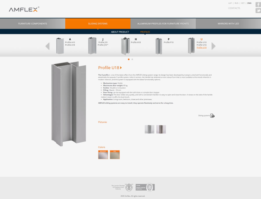 Web design for AM Furnitura, Screenshot of a product