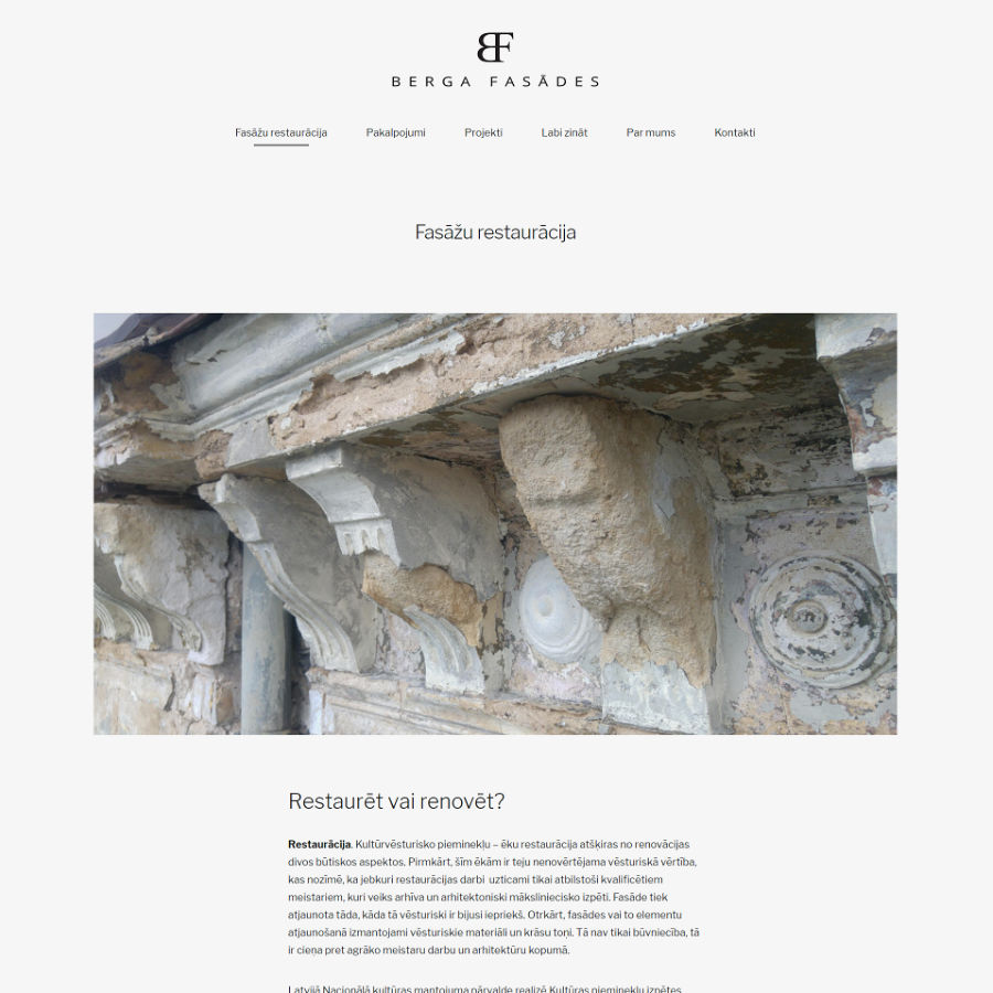screenshot of berga fasades riga website
