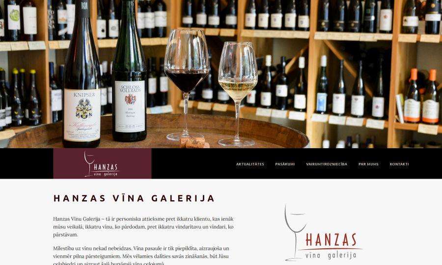 Web design for Hanzas Vīna Galerija, photo with wine shop