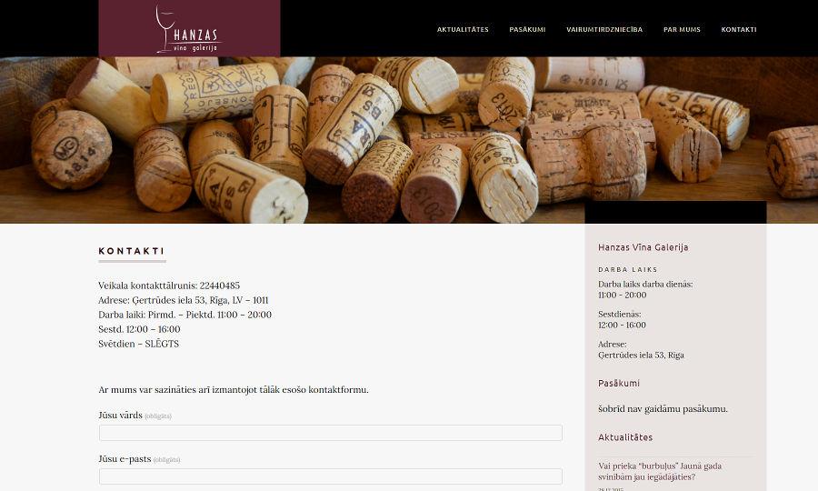 Web design for Hanzas Vīna Galerija, Screenshot 2