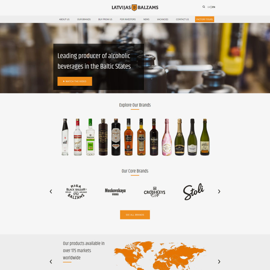 Web design for Latvijas Balzams stock company
