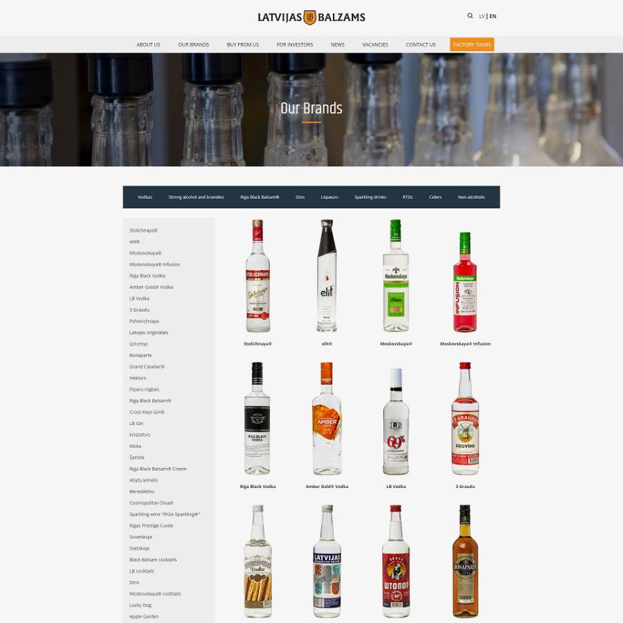 Web design for Latvijas Balzams, product overview